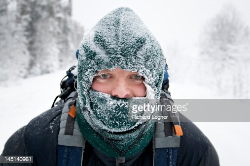 Man wearing frosty face mask : Stock Photo