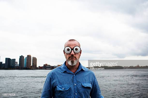 Man wearing funny glasses