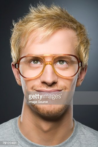 Man wearing glasses : Stock Photo