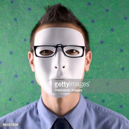 image Dude wears hockey mask jerks in cheap motel