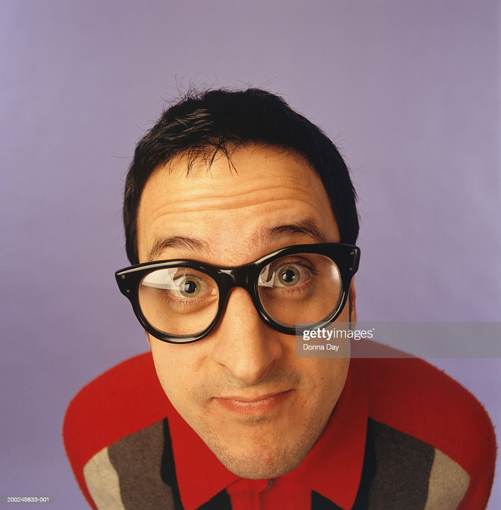 Man wearing large glasses , (Portrait) : Stock Photo