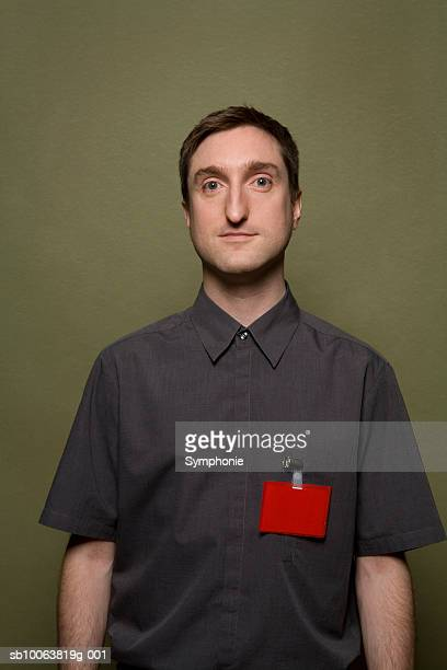 Man wearing name badge