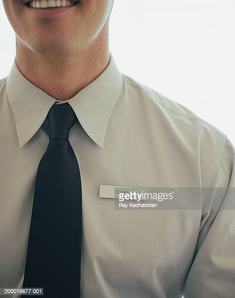 Man wearing name tag