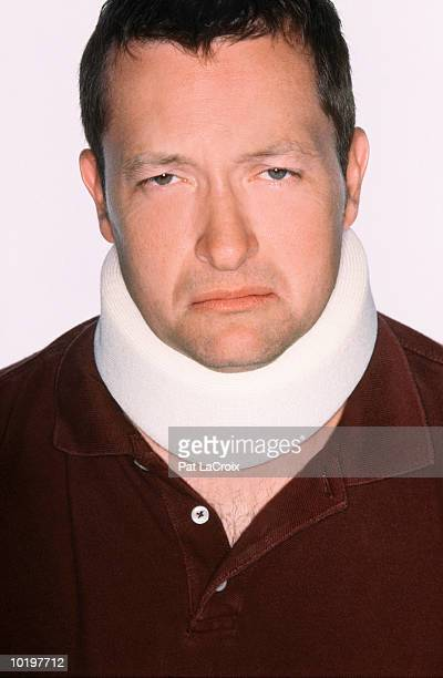 Man wearing neck brace, close