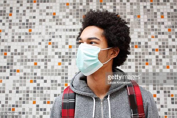 Man wearing  pollution mask