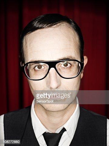 Man Wearing Retro Glasses