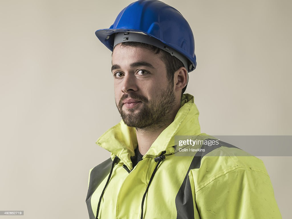 Man wearing safety helmet