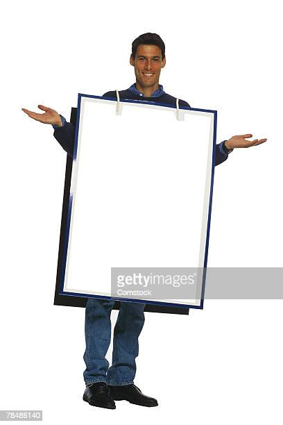 Man wearing sandwich board