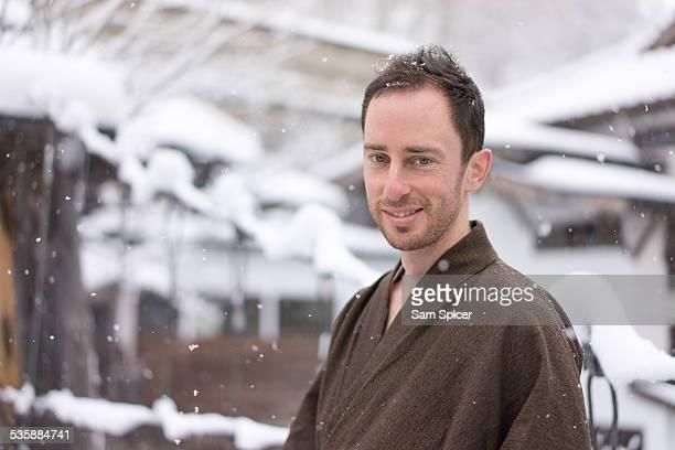 Man wearing traditional Japanese Yukata in Winter