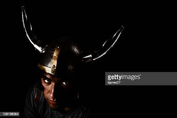 Man Wearing Viking Hat, Low Key