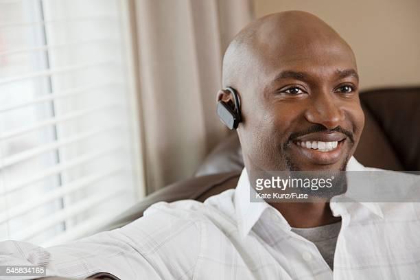 Man wearing wireless headset