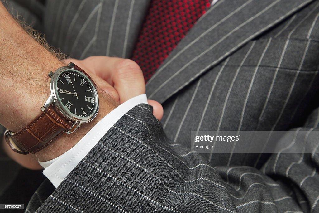 Man wearing wristwatch