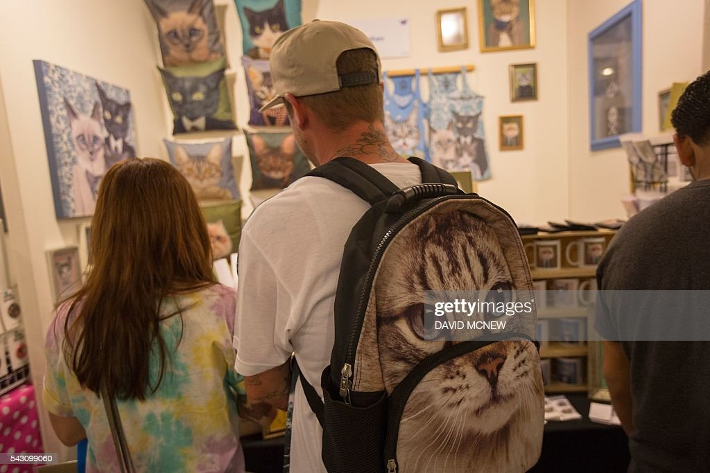 A man wears a cat-themed backpack at CatConLA, a convention to show cat-related products and ideas in art, design, and pop culture, on June 25, 2016 in Los Angeles, California. / AFP / DAVID