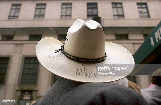 A man wears a cowboy hat in front of Madison Square Garden host to this years Country Music Association awards November 15 2005 in New York City The...