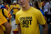 A man wear's a ProIndependece tshirt during the celebrations of the National Day of Catalonia on September 11 2014 in Barcelona Spain Thousands of...