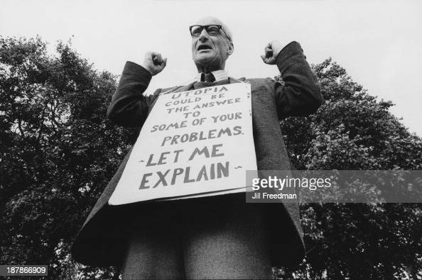 A man wears a sign at Speakers' Corner Hyde Park London 1982
