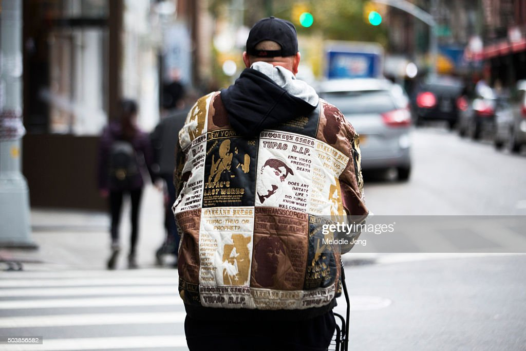A man wears a Tupac rapperthemed jacket in Soho on December 01 2015 in New York City