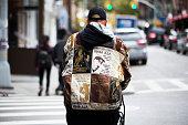 A man wears a Tupac rapperthemed jacket in Soho on December 01 2015 in New York City