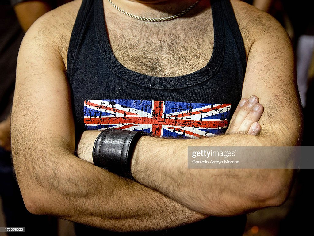 A man wears a Union Jack flag on his shirt in the Chueca neighborhood during the Madrid Gay Pride Festival 2013 on July 5, 2013 in Madrid, Spain. According to a new Pew Research Center survey about homosexual acceptance around the world, Spain tops gay-friendly countries with an 88 percent acceptance rate.