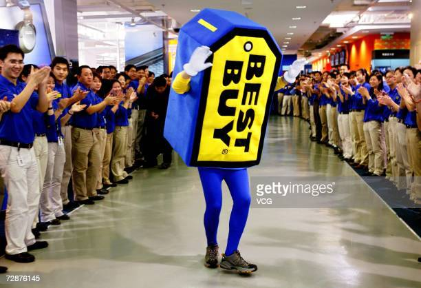 A man wears Best Buy logo for promotion for the Best Buy store opening in the last week of December on December 26 in Shanghai China The largest...