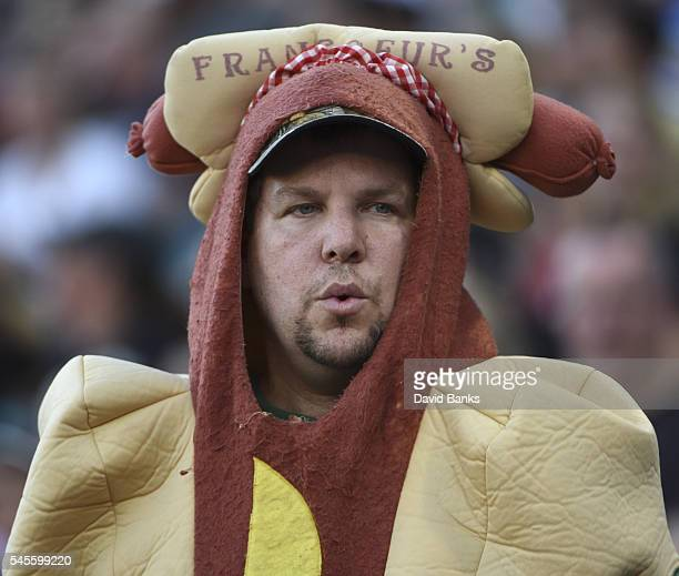 A man wears hot dog costume during a game between the Chicago White Sox and the Atlanta Braves in a interleague game on July 8 2016 at U S Cellular...
