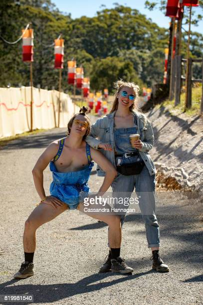 A man wears only an IKEA shopping bag during Splendour in the Grass 2017 on July 21 2017 in Byron Bay Australia