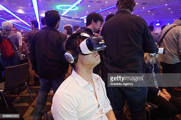 A man wears updated virtual reality headset during the VRLA virtual reality fair in Los Angeles USA on January 25 2016
