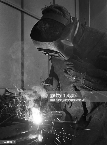 A man welding Northfleet Kent 5th February 1960