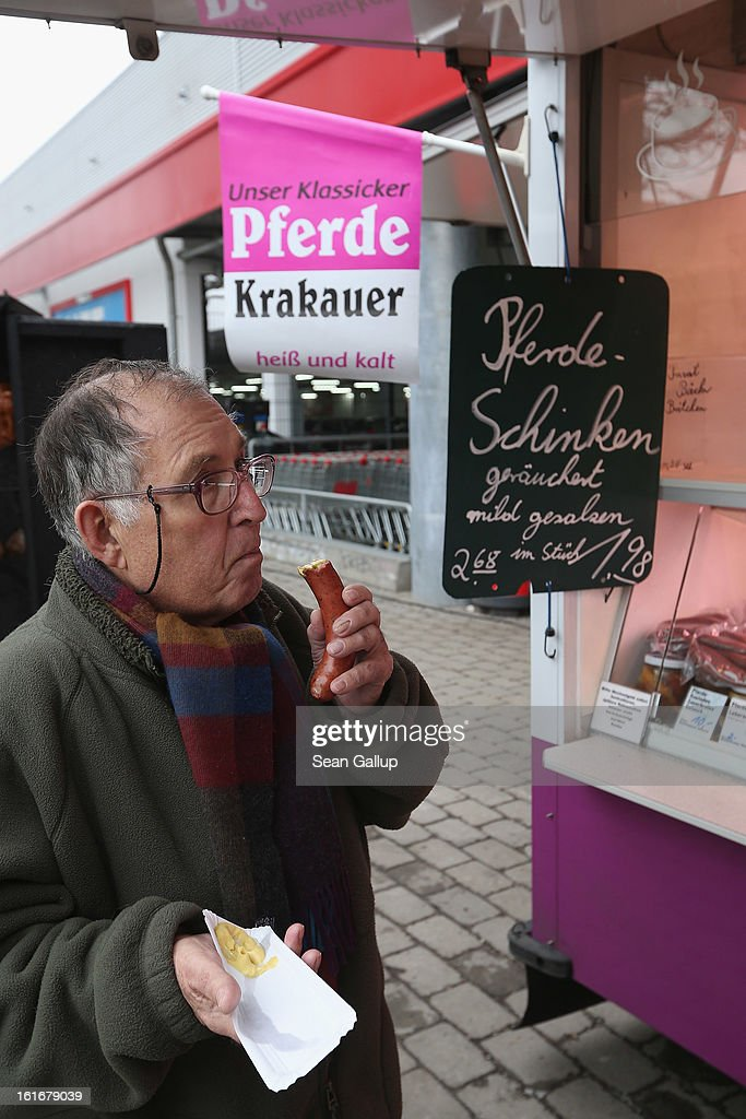 A man who says he often ate horsemeat while growing up in former East Germany eats a horsemeat sausage from the Schlemmer Hansel stand at the weekly open-air market in Hohenschoenhausen district on February 14, 2013 in Berlin, Germany. While authorites arcoss Europe investigate the origin of ready-made lasagne that was labeled to contain only beef when it in fact also contained horsemeat, fans of horsemeat are pointing to its good taste and its health benefits. Horsemeat contains significantly less fat than beef and has slightly higher protein.