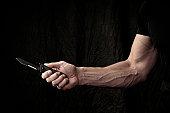 Man wielding knife