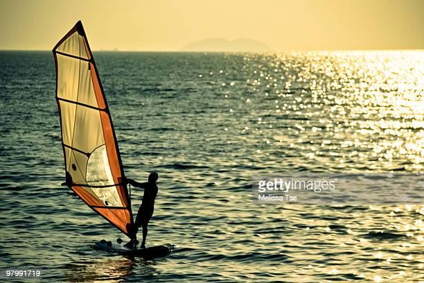 Man windsurfing in ocean during sunset