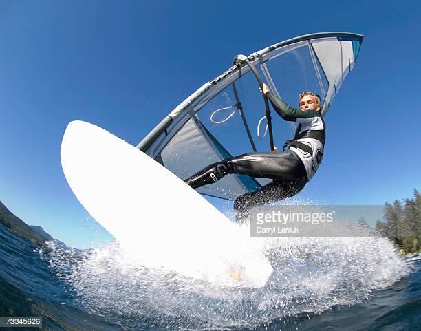 Man windsurfing, low angle view