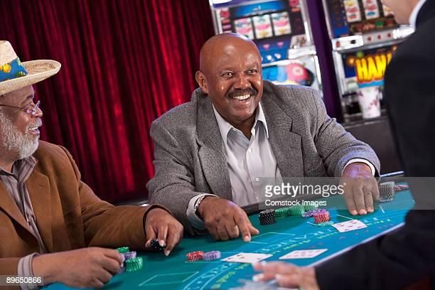 man winning at blackjack