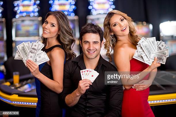 Man winning at the casino