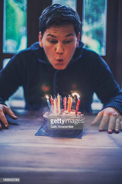 Man with a birthday cake