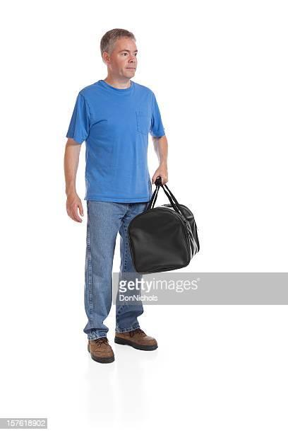 Mann mit einem schwarz Reisetasche