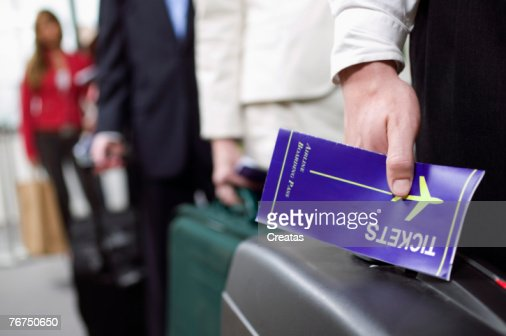 Man with a boarding pass : Stock-Foto