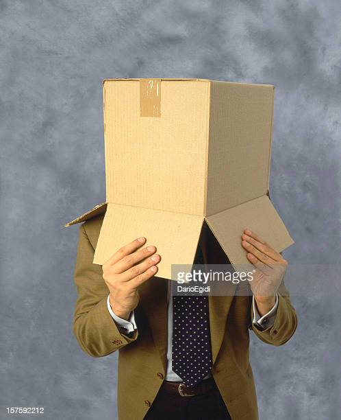 Man with a box on the head