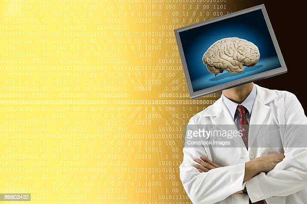 Man with a brain for a head