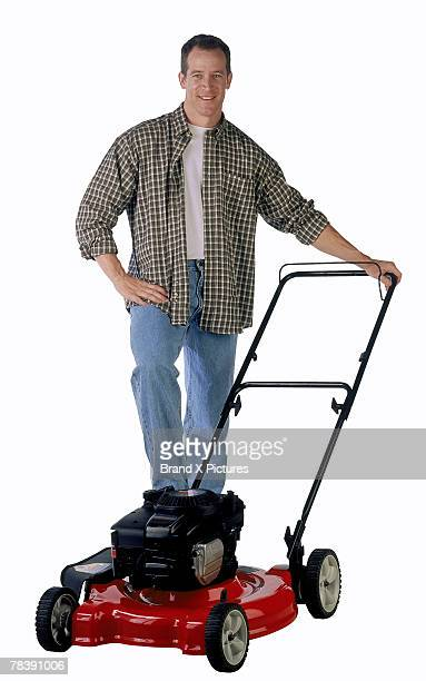 Man with a lawnmower