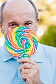 Man with a lollipop