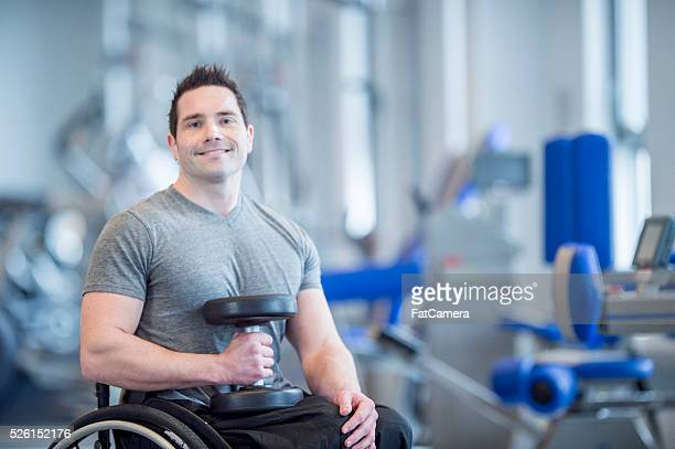 Man with a Physical Disability Lifting Weights