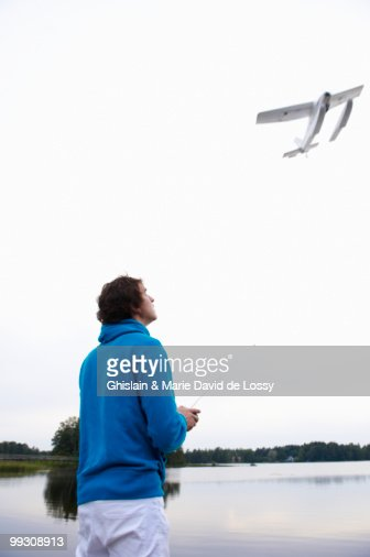 Man with a remote-controlled plane