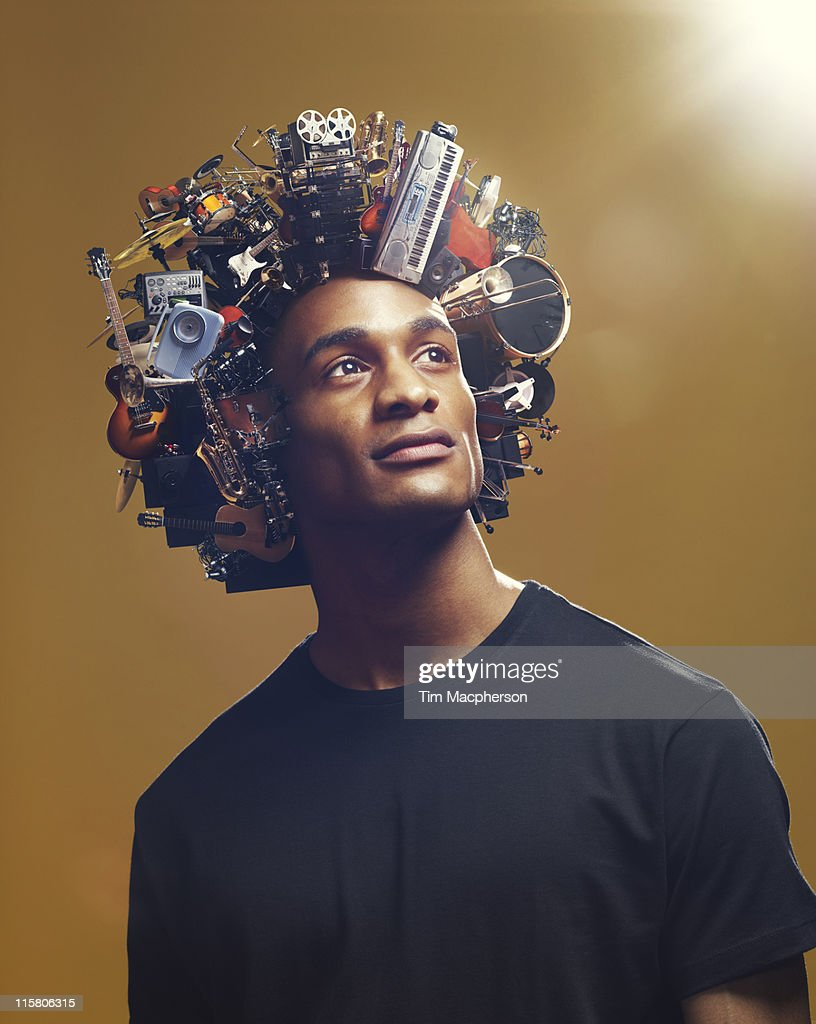 Man with afro made from Musical equipment : Stock Photo