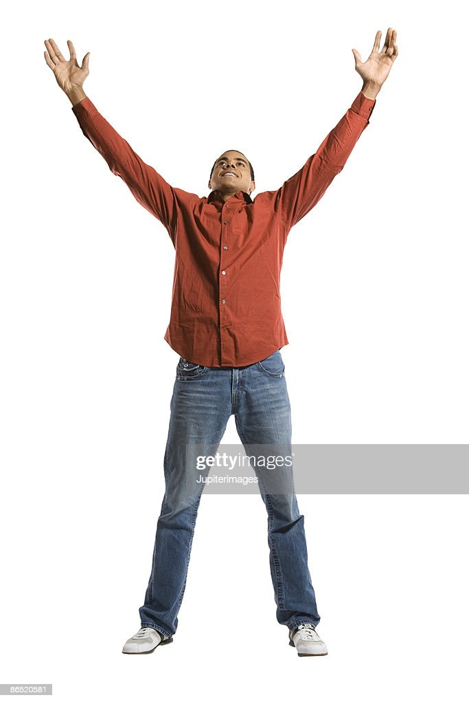 Man with arms raised