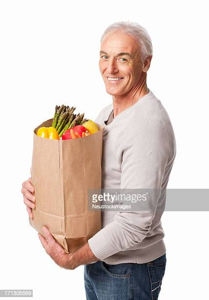 Man With Bag Of Vegetables - Isolated