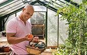 Man with basket of vegetables
