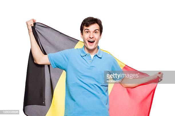 Man with Belgium flag