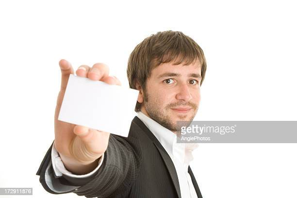 Man with business card in the hand