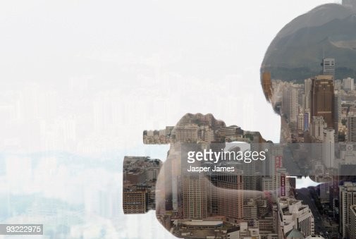 Man with camera, double exposure : Stock Photo